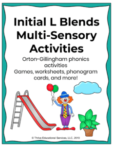multi-sensory activities for l blends