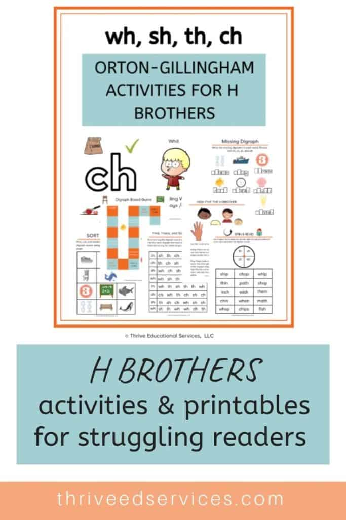 Orton-Gillingham activities for digraphs. This set includes H brothers activities to help students who struggle in reading learn how to read and write digraphs ch, wh, th, and sh. How to teach digraphs to students with dyslexia. #dyslexia #ortongillingham #hbrothers #digraphs #phonicsprintables #Phonicsworksheets #multisensory