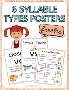 6 syllable types posters for classroom