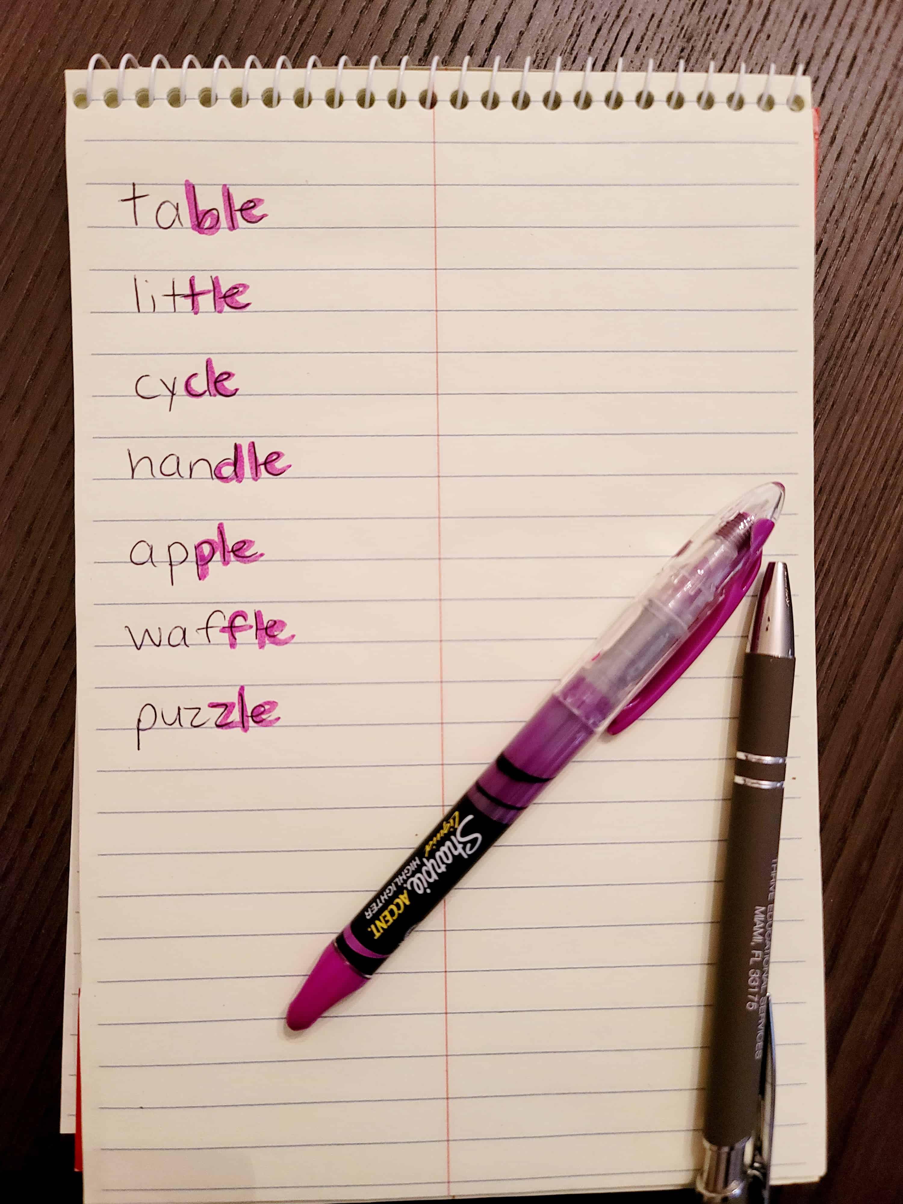 highlight consonant le syllable in a word list