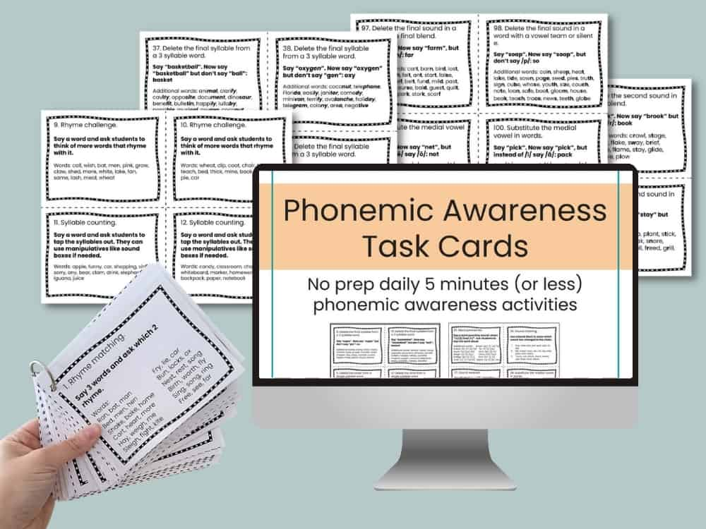 Phonemic awareness task cards