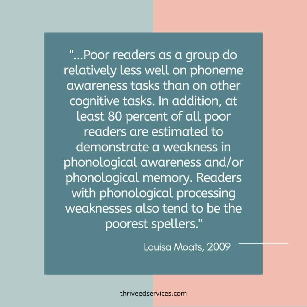 Louisa Moats quote about poor readers